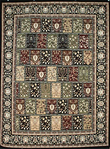 Generations Traditional Panal Squares Persian Area Rugs Black 5 2 x 7 3