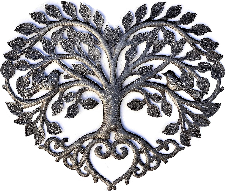 "Heart Shaped Tree of Life Metal Wall Hanging Artwork, Handmade in Haiti, Celtic Family 17"" X 16"""