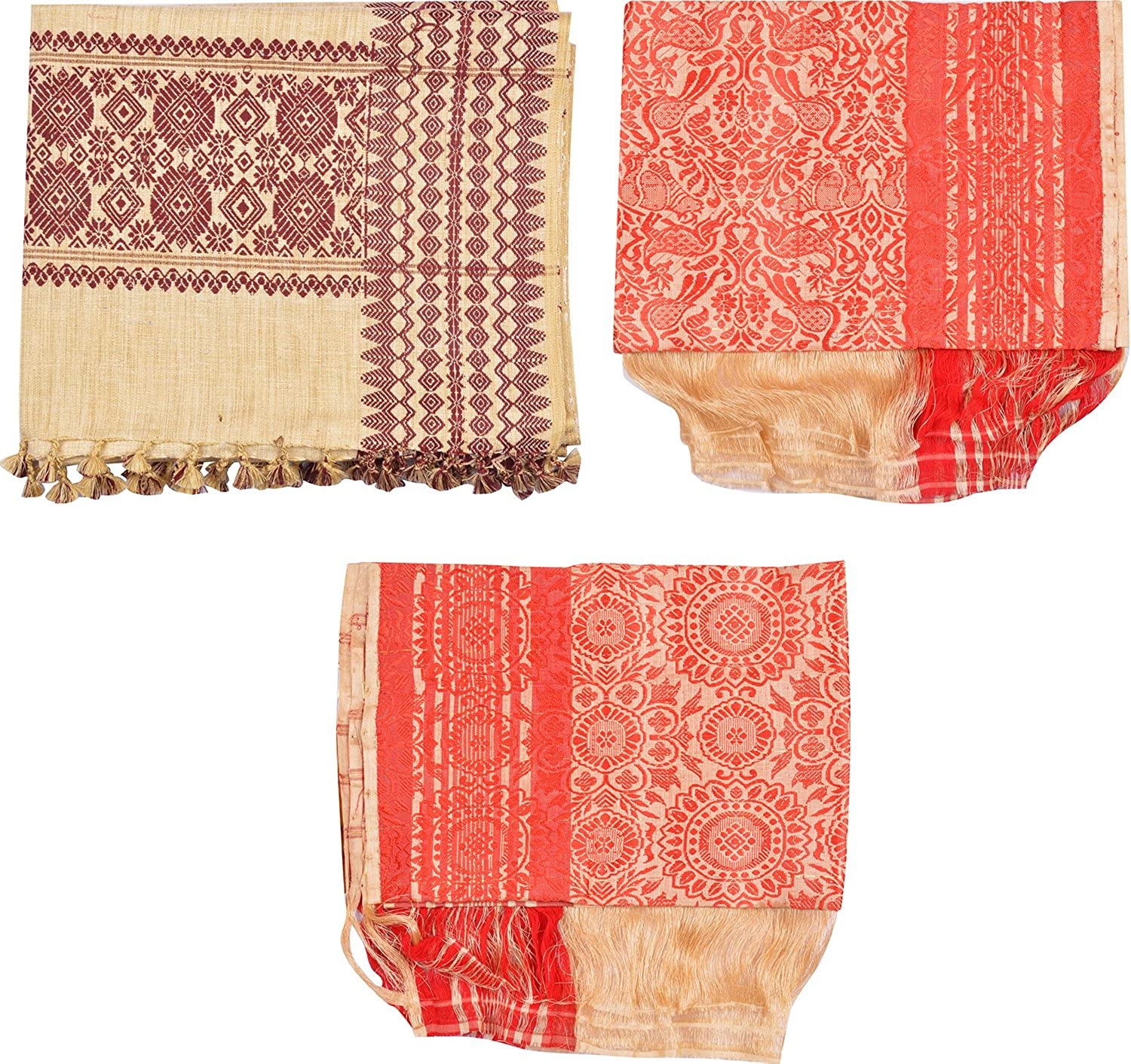 Uparam Muga Gamusa & Edi Shawl, Adult Scarf Combo of 3 (Multi-Coloured)