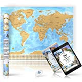 Scratchable World Travel Map 33x24 Inches – Gold Top - Glossy Bottom – Country Flags – Scratch Off Easily – Great Gift and Creative Wall Decoration