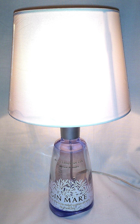 Lampada arredo da tavolo bottiglia vuota Gin Mare idea regalo abat jour abatjour riciclo creativo riuso