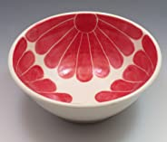 Porcelain Cereal or Soup Bowl, Hand Painted in Red Flower Design