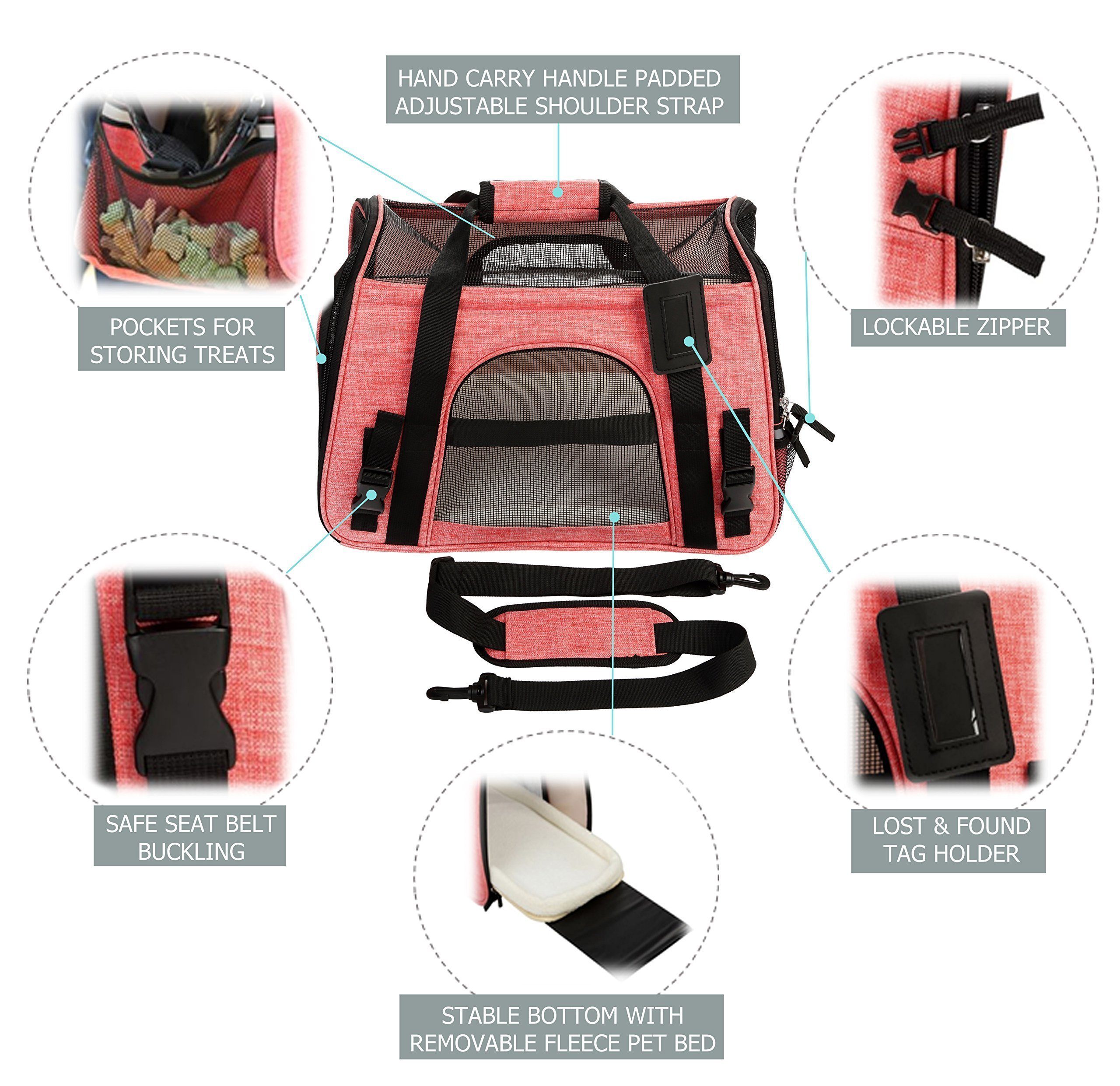 9e13b61812 TailHouse Pet Carrier Airline Approved for Dogs Cats Puppies  Pink Purse  Travel Bag fits Under seat- Premium Soft Sided Tote w Fleece Bed and  Shoulder Strap