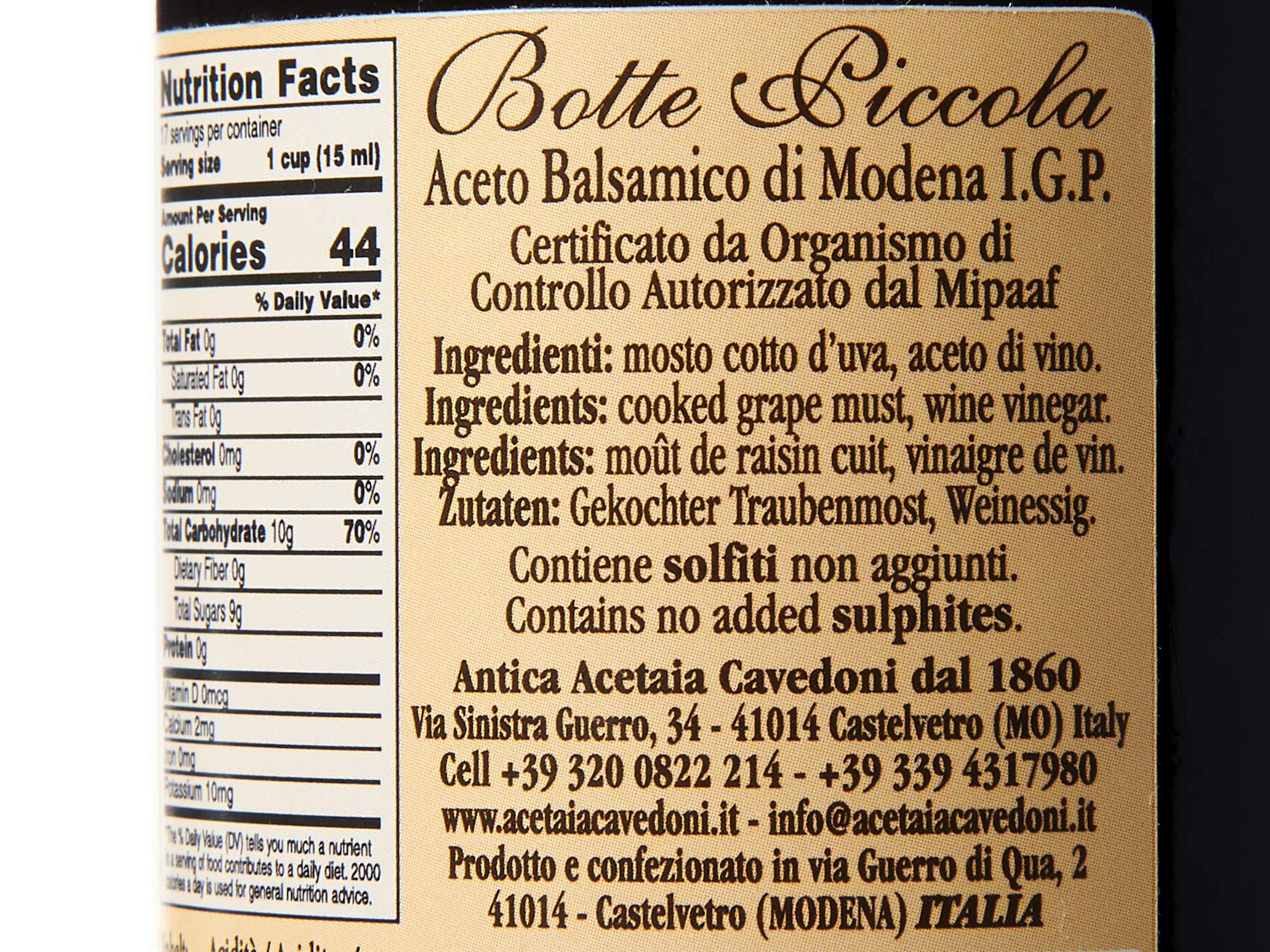 Botte Piccola Balsamic Vinegar IGP, 250ml Bottle by Cavedoni (Image #6)