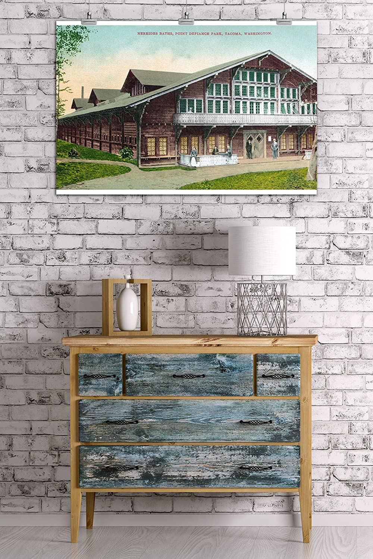 Amazon.com: Lantern Press Tacoma, Washington - Exterior View of Point Defiance Park Nereides Bath House (100% Cotton Tote Bag - Reusable): Home & Kitchen