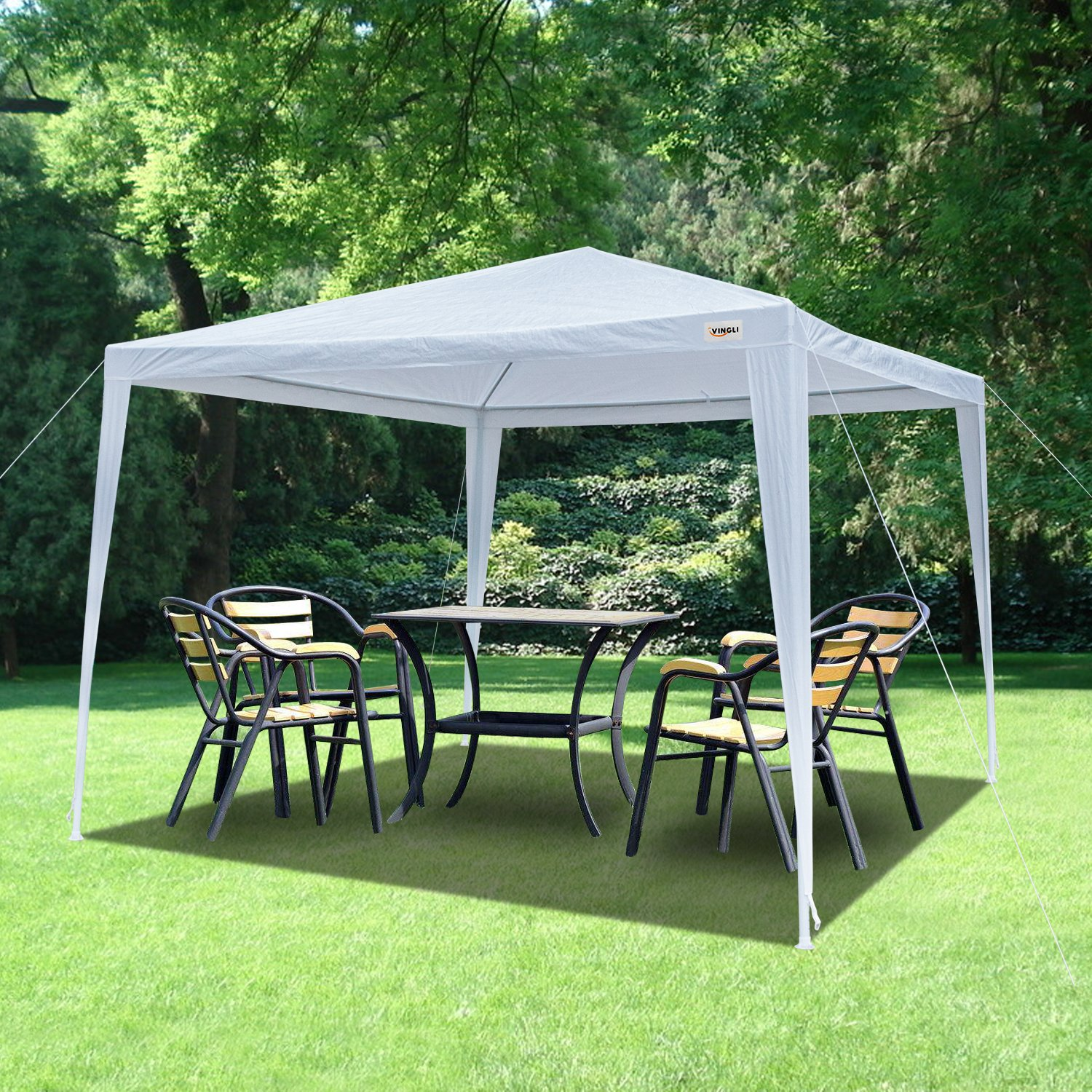 Crazyworld 10' x 10' Outdoor Canopy Wedding Party Tent, Heavy Duty Upgraded Tube Steel Gazebo Pavilion Garden Pool Cater Event Tent