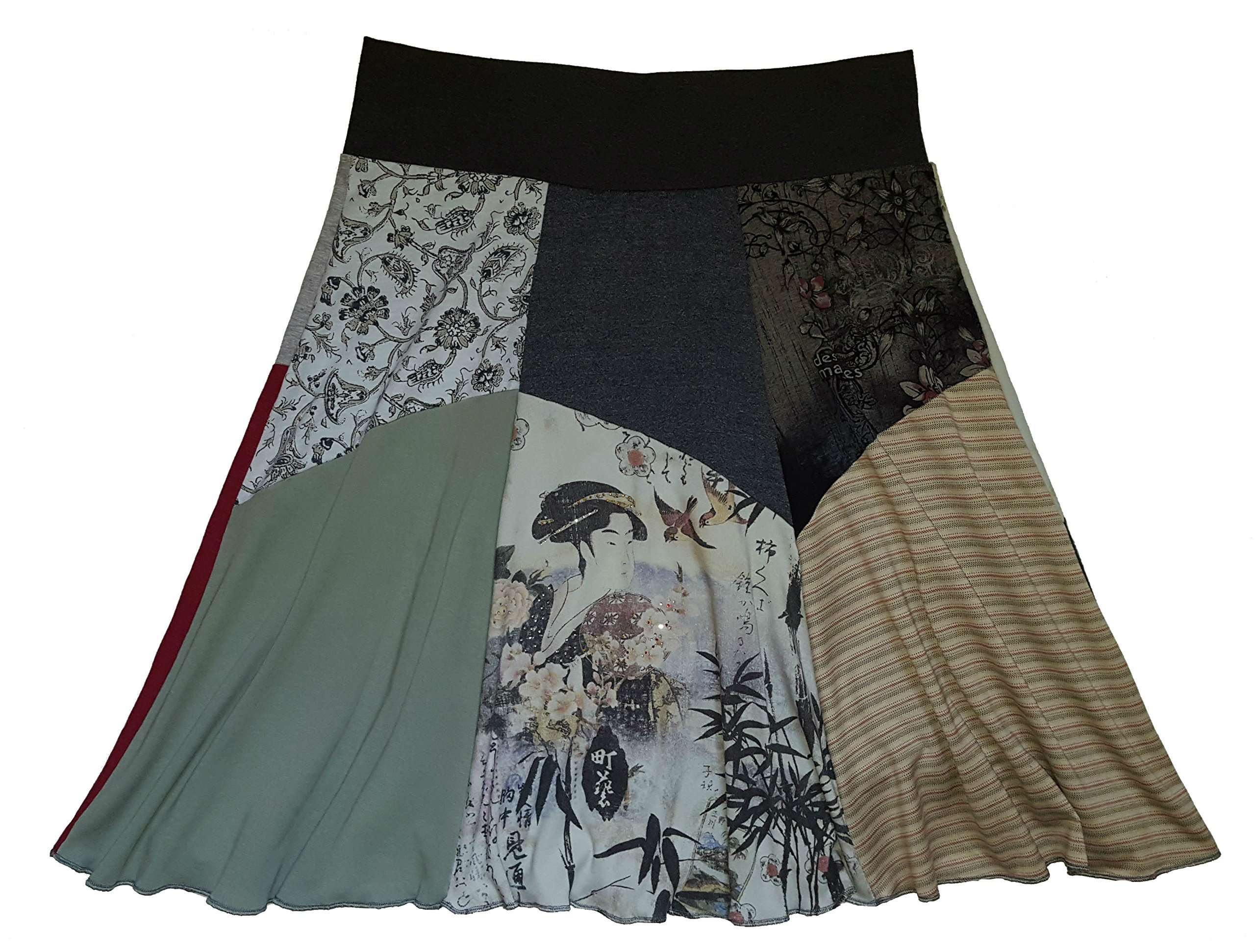 Geisha T-Shirt Skirt Women's Size XL 1X Plus Size Upcycled Hippie Skirt One of a Kind