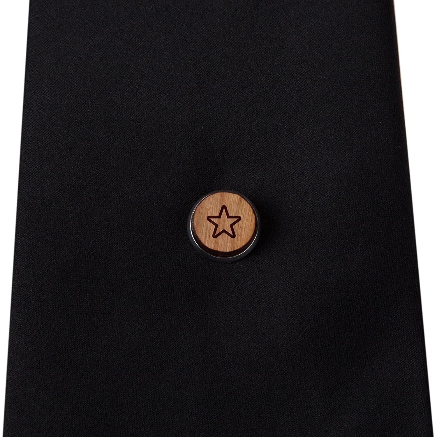 12Mm Simple Tie Clip with Laser Engraved Design Engraved Tie Tack Gift Star Stylish Cherry Wood Tie Tack