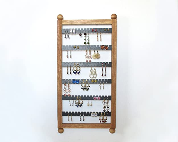 Oak Earring Holder, Earring Rack , Holds 80 Pairs! , Jewelry Organizer,  Earring