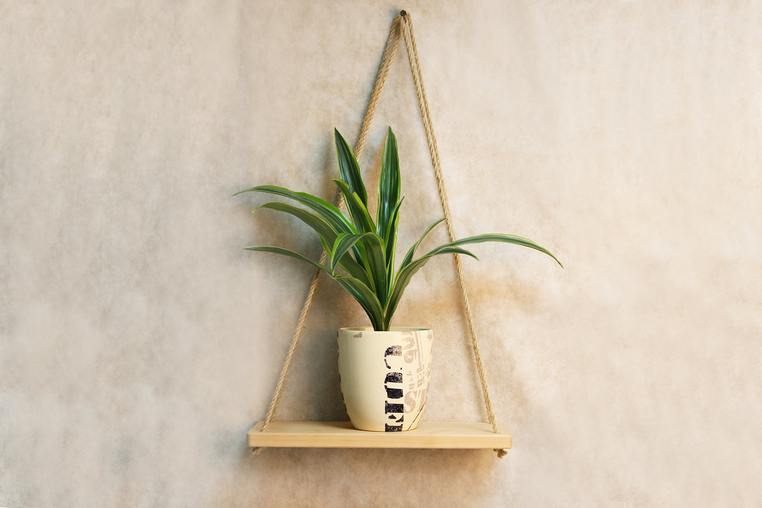 Wood Swing Hanging Rope Shelf Indoor 14x6 Inch - Minimalist Wooden Planter Holder Potted Floating Wall Shelves White - Small Mid Century Modern Plant Stand - Vintage Farmhouse Housewarming Gift