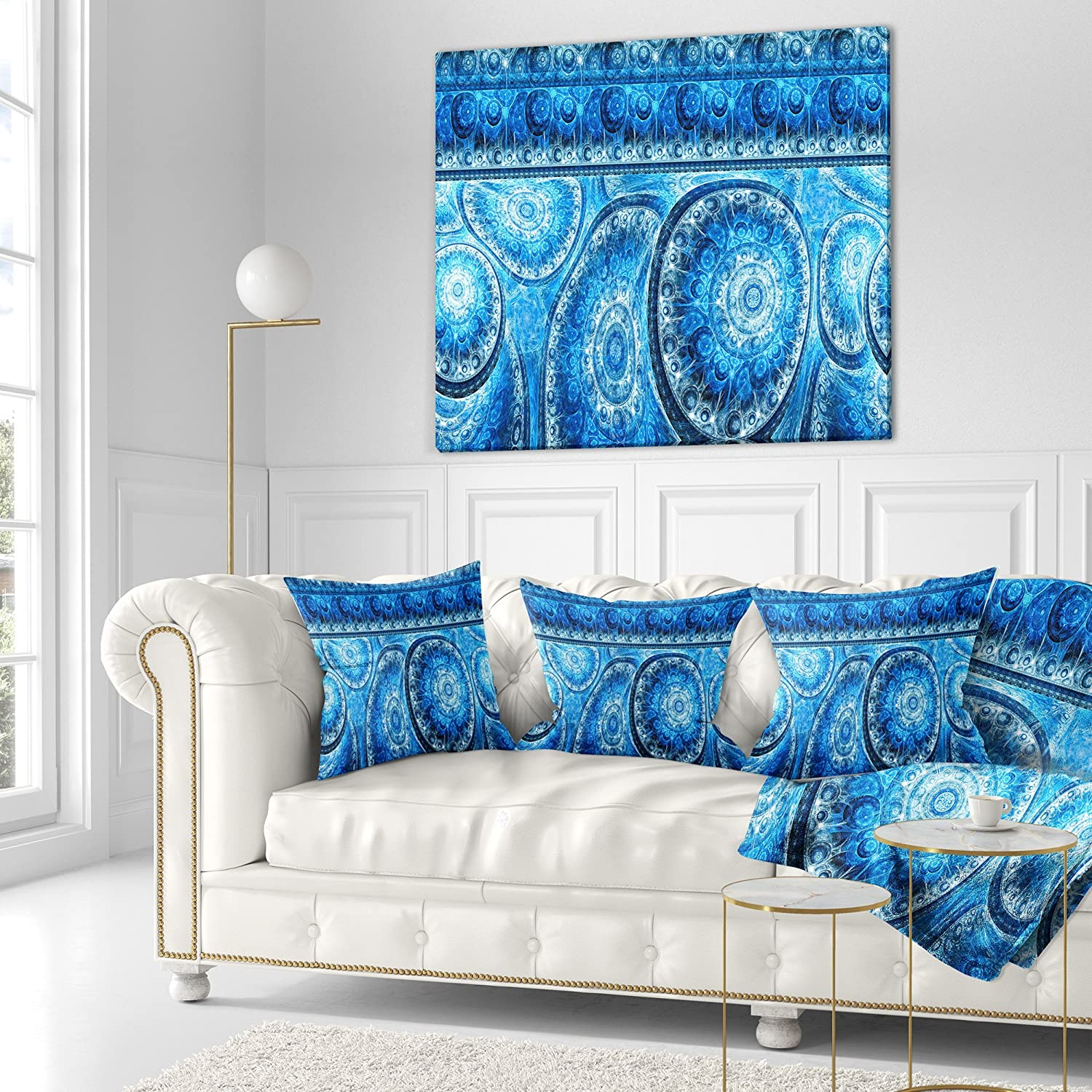 Sofa Throw Pillow 18 in x 18 in in Designart CU16148-18-18 Blue Cells Fractal Design Abstract Cushion Cover for Living Room