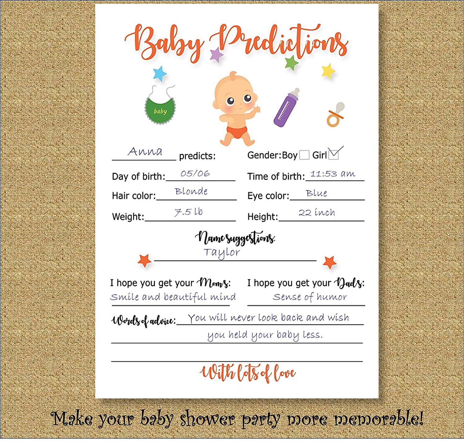 Amazon.com : Baby Shower Games Prediction Advice 40 Cards Fun Games Neutral Baby  Shower Party : Baby