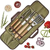 Clifford James Barbecue Tool Set Cooking Grilling Utensils Stainless Steel and Solid Wood with Carry Bag 5 Pieces