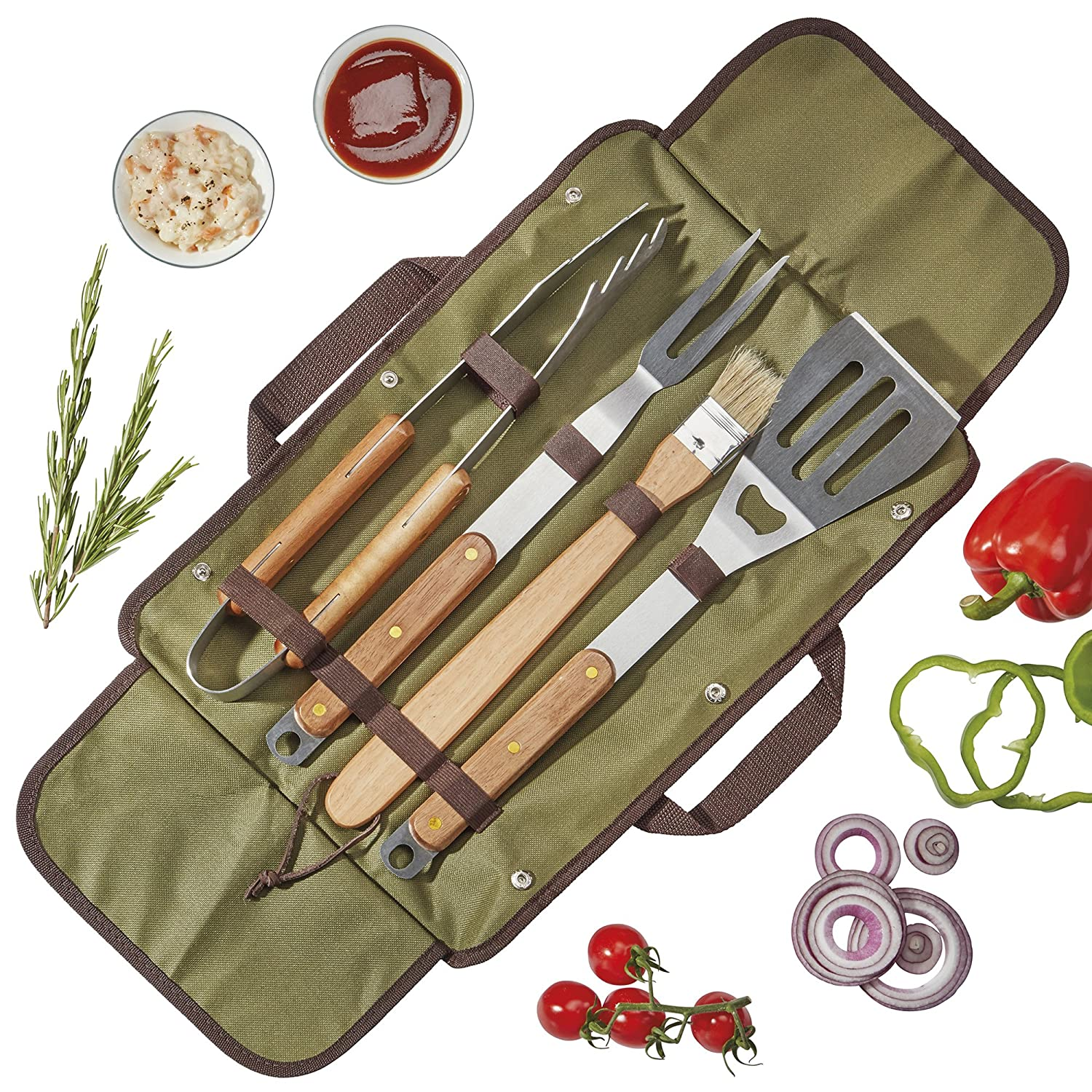 Blaze Box Barbecue Tool Set Cooking Grilling Utensils Stainless Steel and Solid Wood with Carry Bag 5 Pieces Clifford James