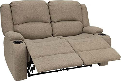 RecPro Charles 58 Powered Double RV Wall Hugger Recliner Sofa RV Loveseat RV Furniture Cloth Oatmeal