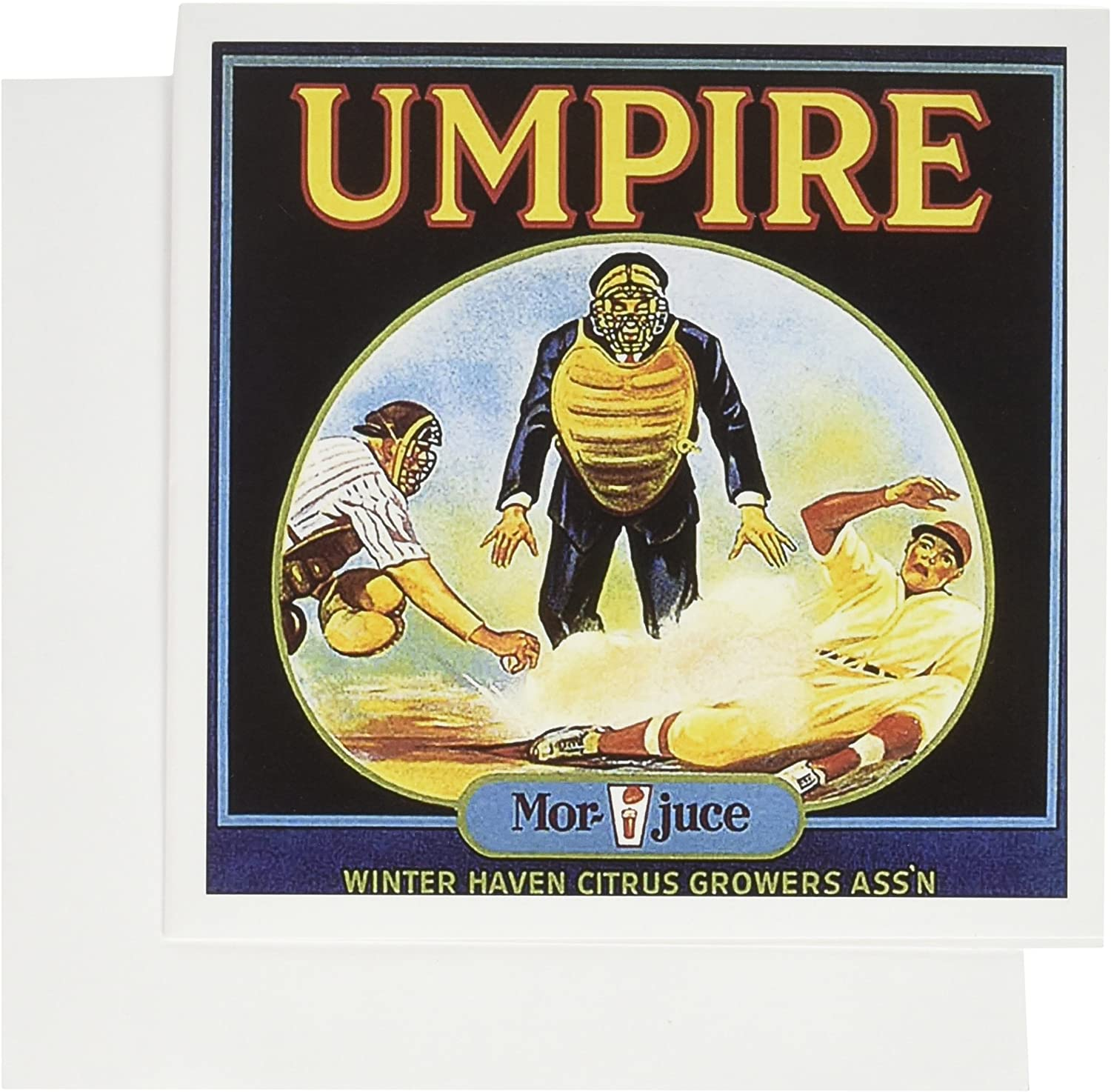 3dRose Vintage Baseball Umpire Food Ad - Greeting Cards, 6 x 6 inches, set of 12 (gc_153841_2)
