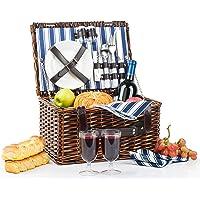 Picnic Basket for 2 | Handmade Picnic Hamper Set | Ceramic Plates Complete Kit Includes Metal Flatware Wine Glasses S/P…