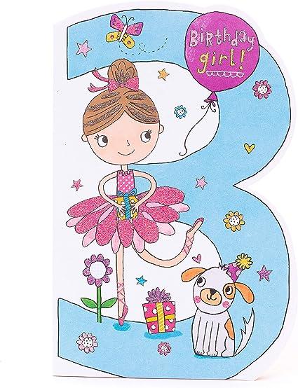 Carte D Anniversaire Pour 3 Ans Jolie Ballerine Carte D Anniversaire Pour Fille De 3 Ans Amazon Fr Fournitures De Bureau