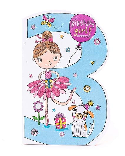 Tarjeta de 3er cumpleaños para niña de 3 años - Tarjeta de ...