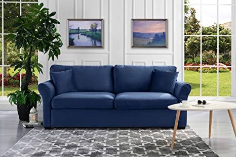 Classic and Traditional Ultra Comfortable Velvet Fabric Sofa - Living Room  Velvet Couch (Navy)