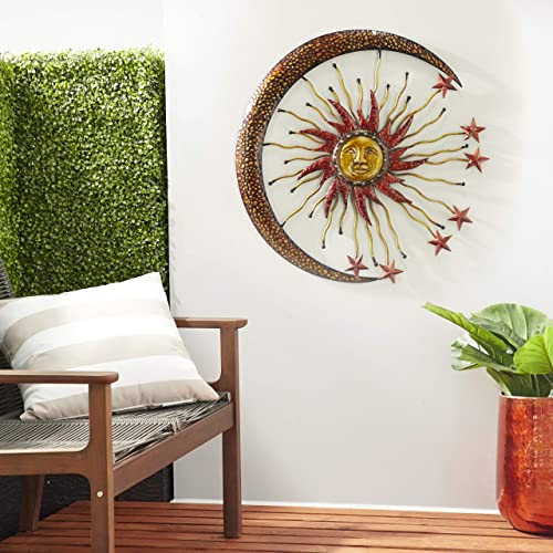 Deco 79 Eclectic Celestial-Themed Metal Wall Decor, 36 Diameter, Copper and Gold Finishes