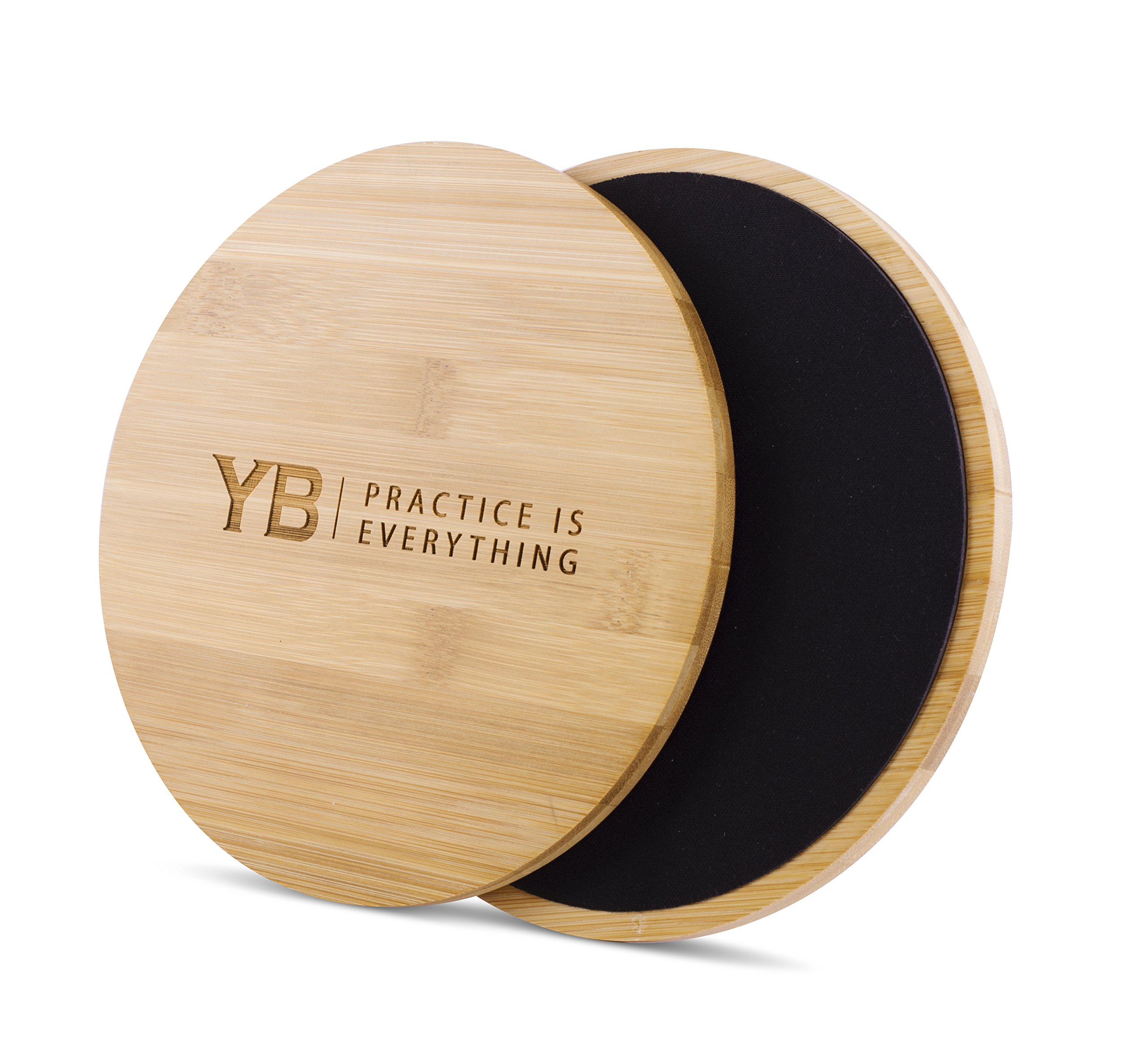 YOGABODY Abdominal Exercise Sliders Beautiful Bamboo Wood | Use for Workouts on Hardwood Floors, Tiles or Carpet | Core Strength Trainers
