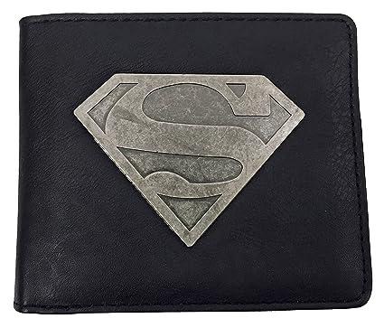 DC Comics - Hombre Fantasia Negro Diseño Divertidos Elegante Billetera / Cartera con Superman Metalico Emblema