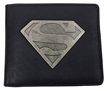 DC Comics - Hombre Fantasia Negro Diseño Divertidos Elegante Billetera / Cartera con Superman Metalico Emblema: Amazon.es: Equipaje