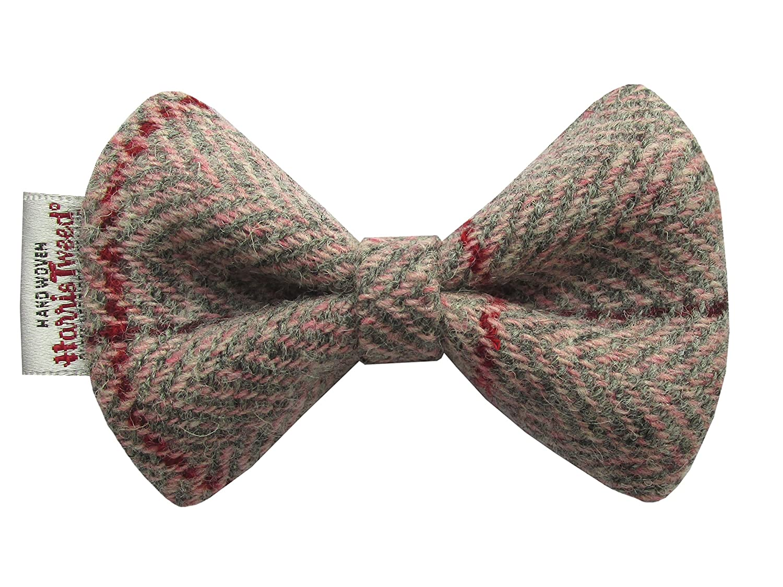 Harris Tweed Pink & Grey Herringbone Designer Dog Collar Bow Tie