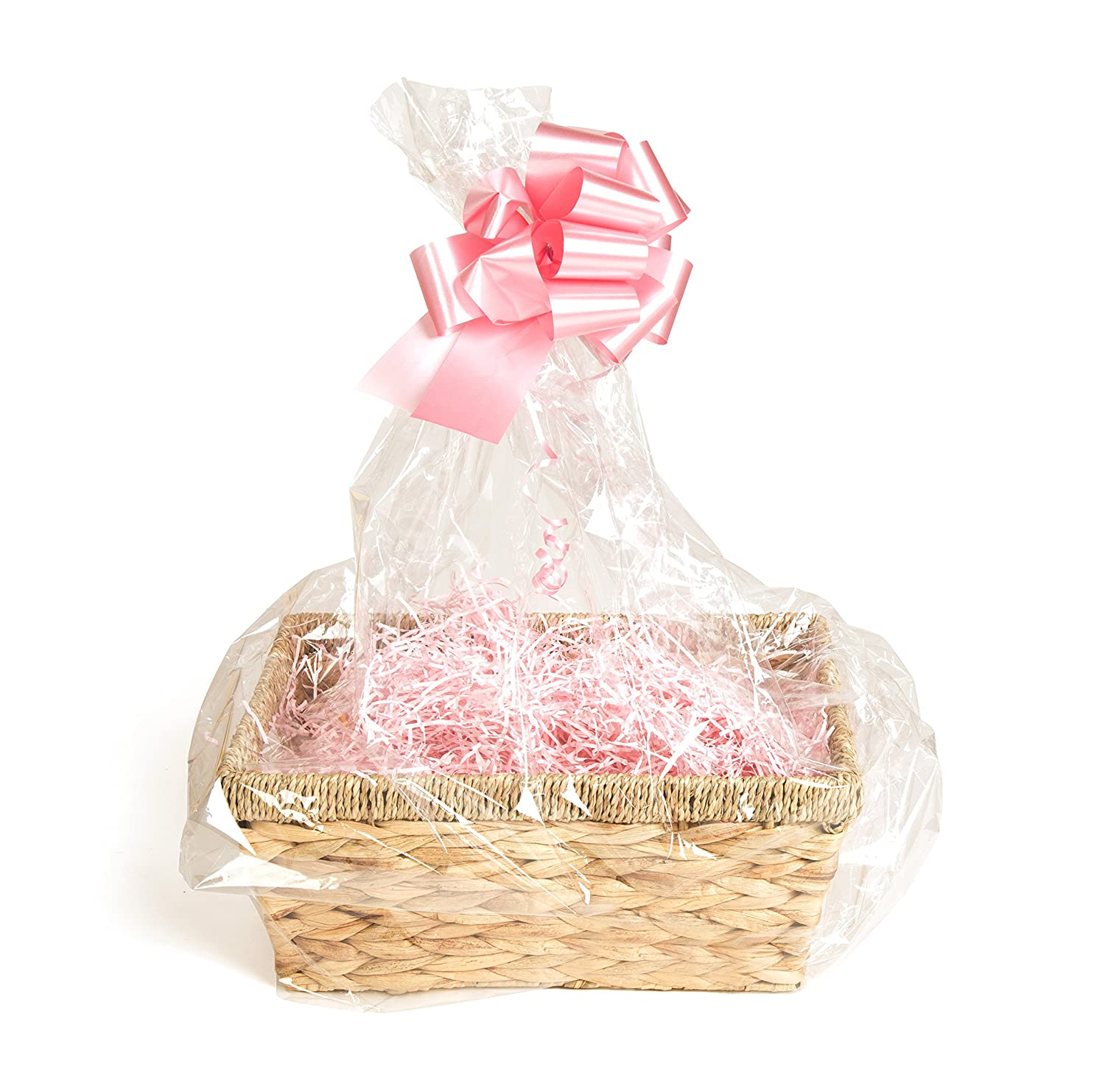 Your Gift Basket - Natural Straw Basket & DIY Hamper Kit with Pink Shred, Pink Bow and Clear Gift Wrap
