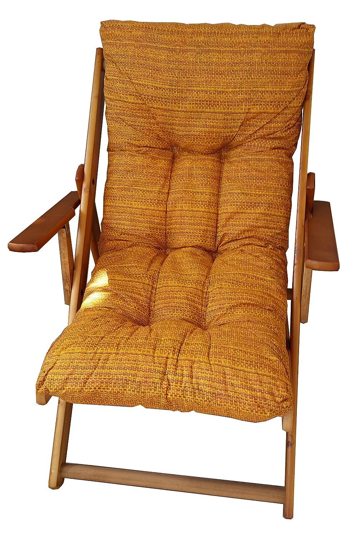 Fauteuil chaise longue en bois, 3positions, pliable, avec coussin rembourré de couleur jaune 3positions Liberoshopping