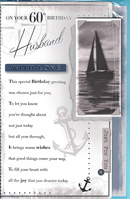 To My Darling Husband On Your 60th Birthday Card Beautiful Verse