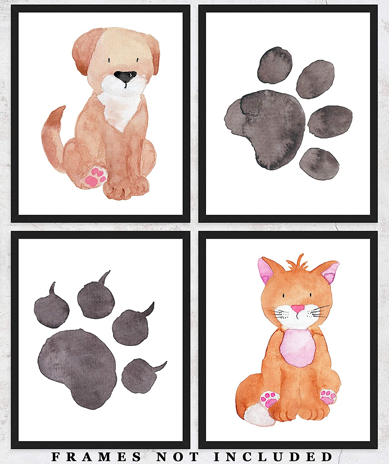 Cats and Dogs - Nursery Wall Decor Art Prints: Set of Four (8x10) Unframed Animal Pictures - Great Gift Idea for Any Nursery and Kids Room Under $20
