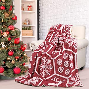 Comeet Soft Faux Sherpa Fleece Christmas Blanket for Kids Holiday, Warm Plush Throw Blanket for College Dorm Bedroom Sofa Couch Bed by Fireplace Gifts for Girls Boys Carpet Home Decor 50x60 in Red