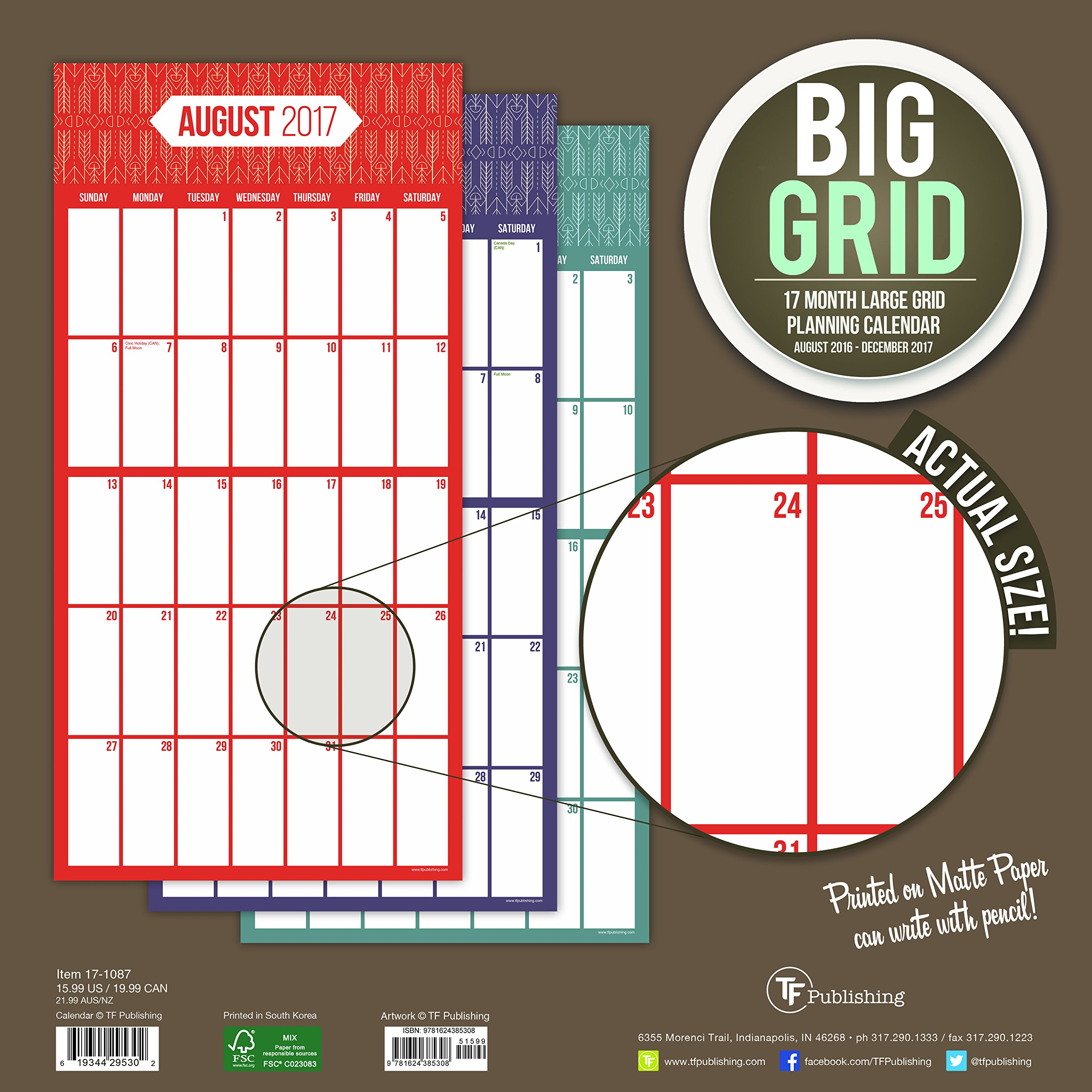 2017 big grid design 17 month wall calendar tf publishing