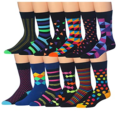 colorfut men s 12 pairs soft cotton colorful funky gift box dress