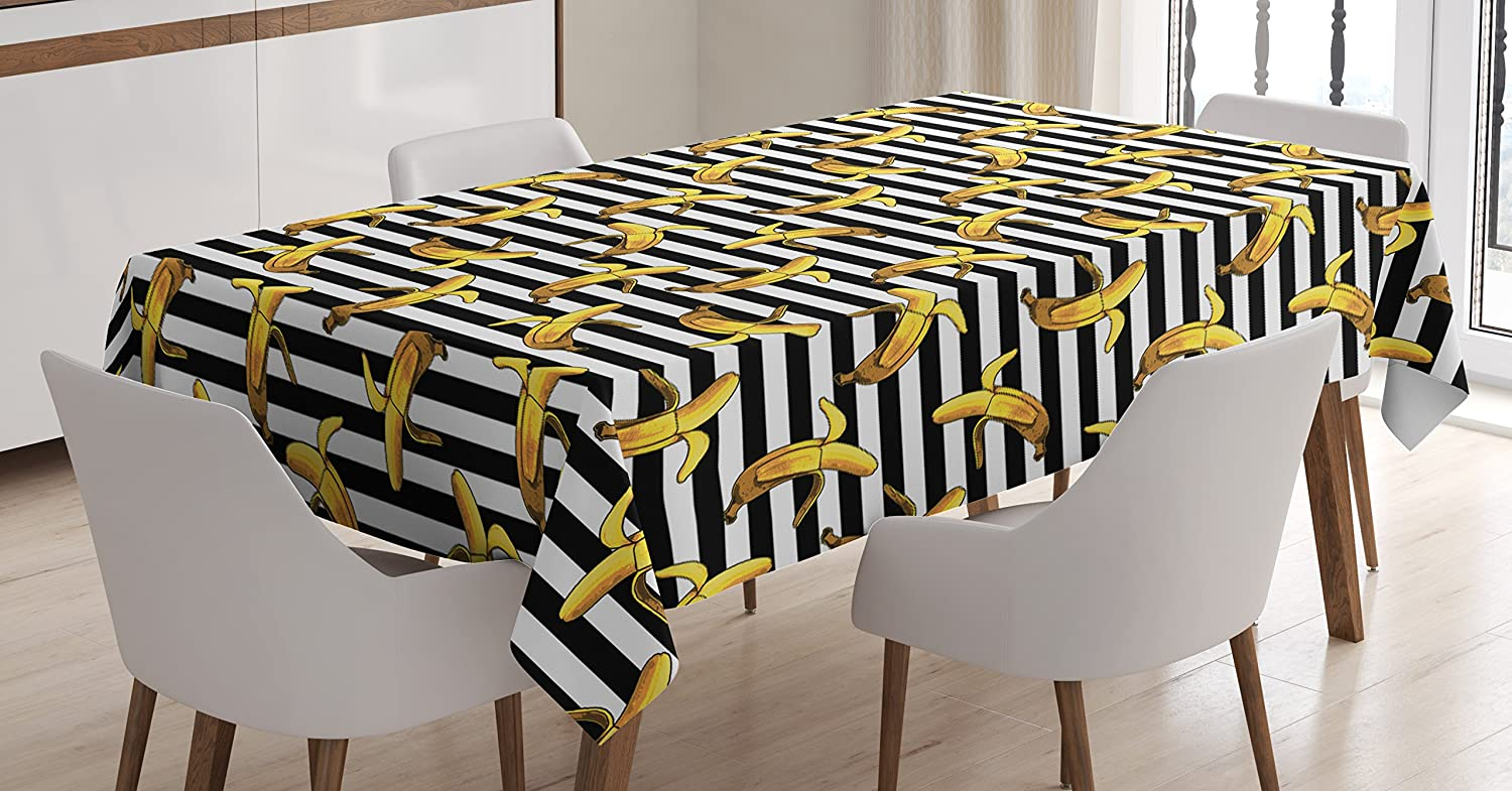 60 W X 84 L Inches Dining Room Kitchen Rectangular Table Cover Teal Yellow Tropical Bananas Pattern in Vivid Tones Exotic Style Palm Summer Graphic Ambesonne Yellow and Blue Tablecloth