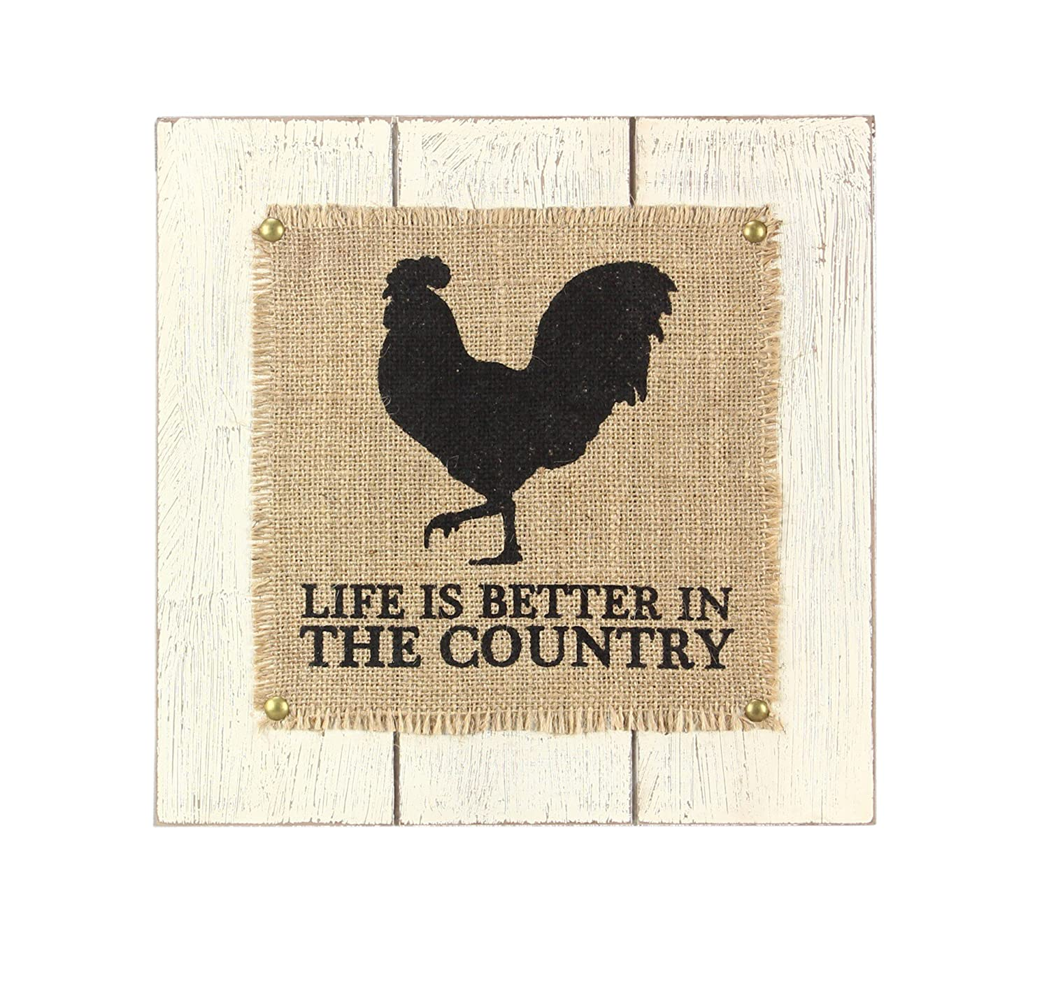 Youngs Wood//Burlap Rooster Wall Sign 11.75