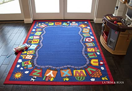 5x7 Kids Boys Children Toddler Playroom Rug Nursery Room Rug Bedroom Rug  Fun Colorful (Train