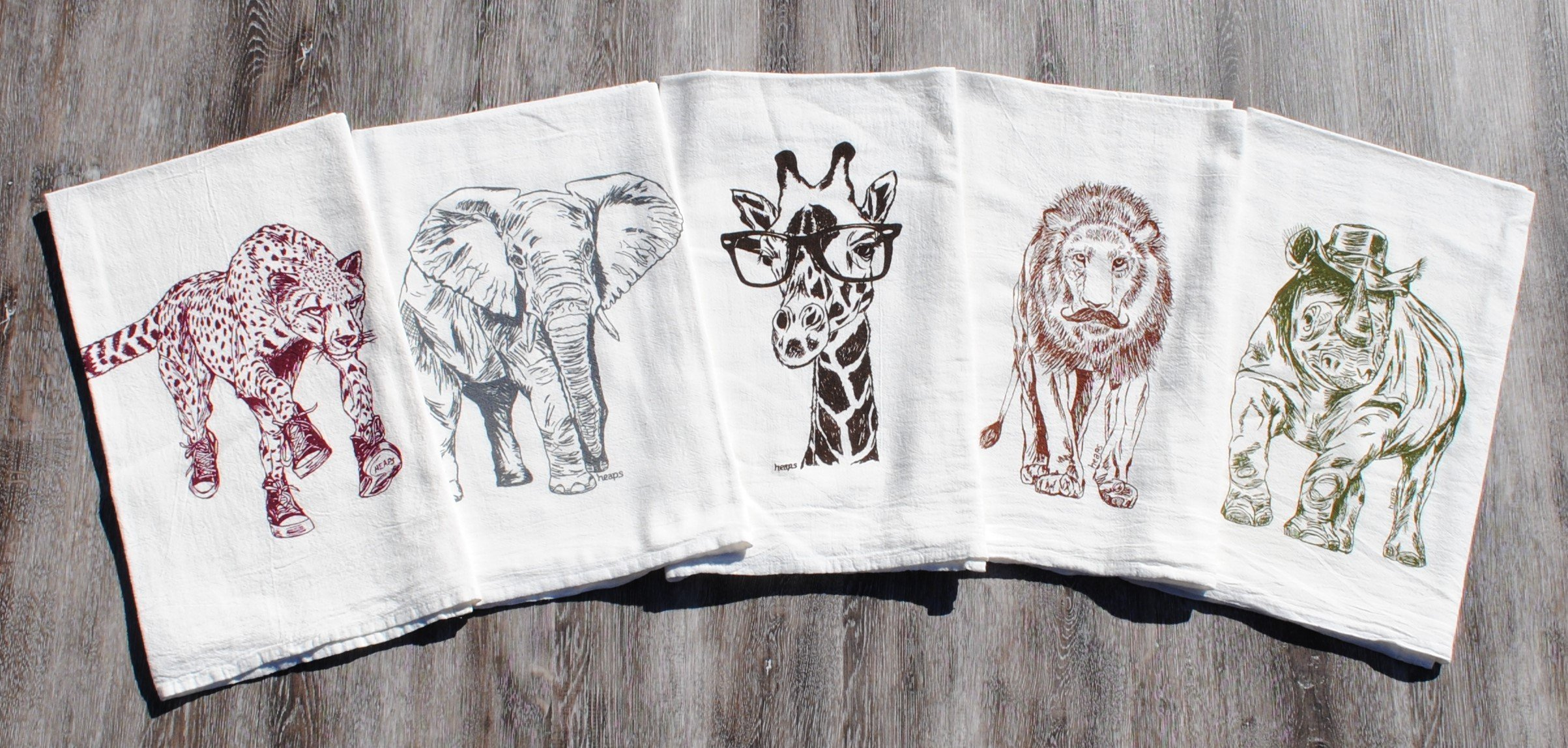 Kitchen Tea Towel Set of 5 - 100% Cotton Flour Sack Material - 26'' x 25'' - African Animals by Heaps Handworks