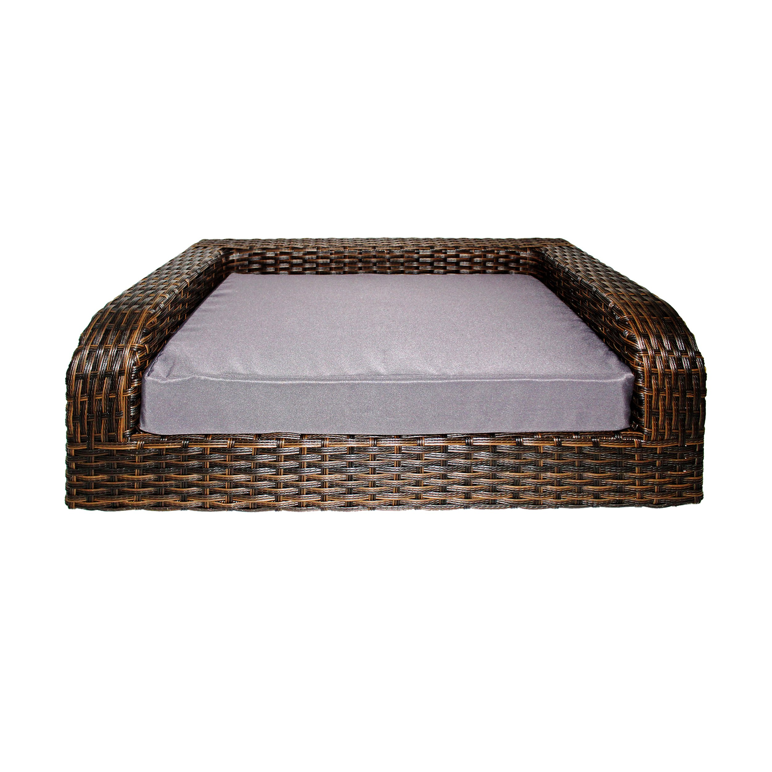 Iconic Pet Rattan/Wicker Pet Sofa Bed - Sofa Made of Woven Palm Stems of Rattan with Metal Frame, Indoor/Outdoor Sofa and Water Resistant Cushion Cover, Elegant Pet Bed for Dogs/Cats up to 80 lbs