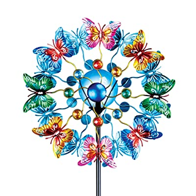 "Colorful Butterflies Double Spinner Garden Stake - Vibrant Colors, Double Sided - For Yard, Garden - Features Multicolor Gems - Blue Ball Center Automatically Shines at Night - Metal - 13""Dia x 52""H: Home & Kitchen"