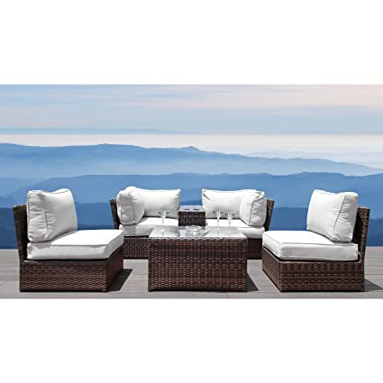 Luxury Patio Furniture Set, Century Modern Outdoor Lucca Collection Wicker  Patio Resort Grade Furniture Sofa