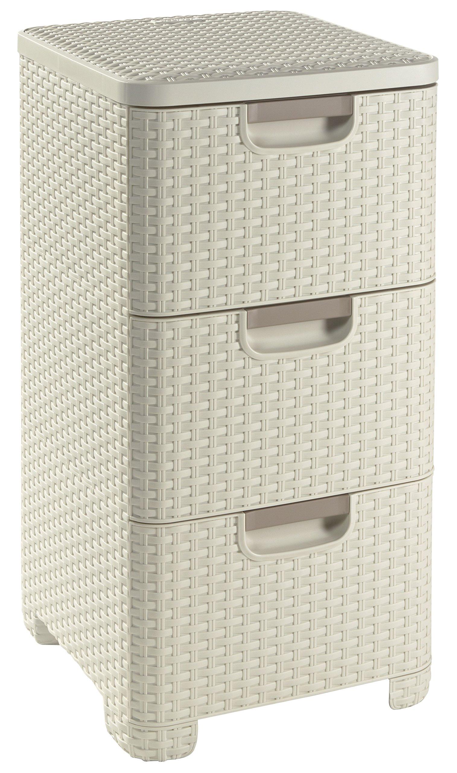 Curver - Cajonera Style de 3 Cajones 14L. - Con Patas - Color Blanco Roto