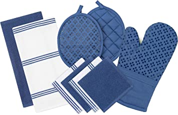 Sticky Toffee Silicone Printed Oven Mitt & Pot Holder, Cotton Terry Kitchen Dish Towel & Dishcloth