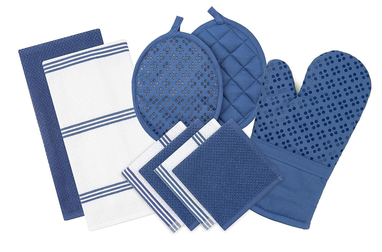 Sticky Toffee Silicone Printed Oven Mitt & Pot Holder, Cotton Terry Kitchen Dish Towel & Dishcloth, Dark Blue, 9 Piece Set