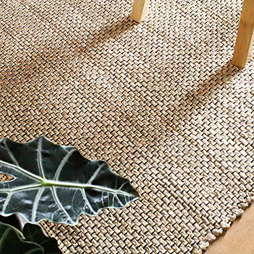 Jute Area Rug – Chunky Handwoven Design, Natural, Durable Braided Weave 4 x 6 , Natural
