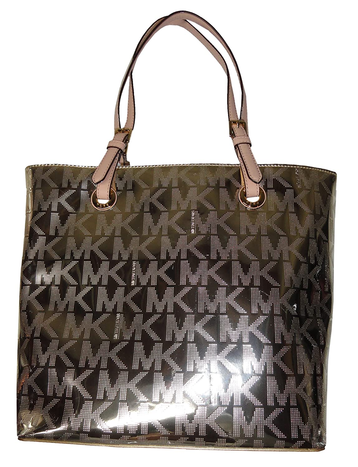 b80ffc0d298e Michael Kors Jet Set Item Grab Bag Signature Tote Mirror Metallic Pale Gold:  Handbags: Amazon.com