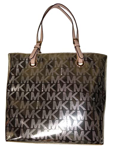 Michael Kors Jet Set Item Grab Bag Signature Tote Mirror Metallic ...