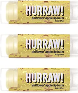 product image for Hurraw! Ahiflower Apple Lip Balm, 3 Pack: Organic, Certified Vegan, Cruelty and Gluten Free. Non-GMO, 100% Natural Ingredients. Bee, Shea, Soy and Palm Free. Made in USA